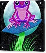 Pink Frog And Blue Moon Acrylic Print