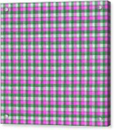 Pink Green And White Plaid Pattern Cloth Background Acrylic Print