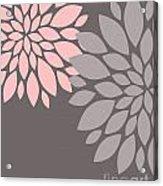 Pink Grey Peony Flowers Acrylic Print