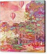 Pink Hot Air Balloons Abstract Nature Pastels - Dreamy Pastel Balloons Acrylic Print
