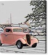 Pink Hot Rod Cruising Woodward Avenue Dream Cruise Selective Coloring Acrylic Print