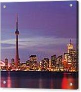 Pink Hour On Toronto Skyline Panorama Acrylic Print