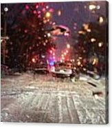 Pink Lights In Snowtrax Acrylic Print