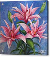 Pink Lilies Acrylic Print by Terri Maddin-Miller