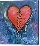 Pink Mended Broken Heart Acrylic Print by Carol Suzanne Niebuhr