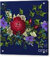 Pink Metallic Rose On Blue Acrylic Print