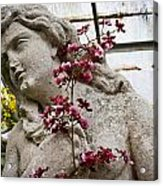 Pink Orchid And Statue Acrylic Print