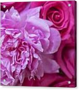 Pink Peonies And Pink Roses Acrylic Print