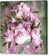 Pink Peonies Bouquet - Square Acrylic Print