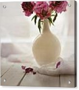 Pink Peonies In A Pot On The Wooden Table Acrylic Print