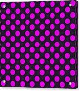 Pink Polka Dots On Black Fabric Background Acrylic Print
