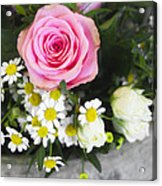 Pink Rose With Daisies Acrylic Print