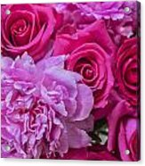 Pink Roses And Peonies Please Acrylic Print