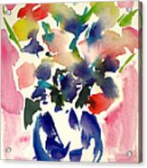 Pink Roses In A Blue Vase Acrylic Print
