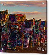 Pink Sky At Cadillac Ranch Acrylic Print