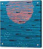 Pink Sunset And Fish Underwater Cartoon Acrylic Print