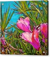 Pink Tropical Flower With Honeybee - Square Acrylic Print