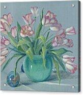 Pink Tulips In Green Vase Acrylic Print