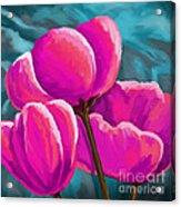 Pink Tulips On Teal Acrylic Print