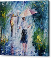 Pink Umbrella - Palette Knife Oil Painting On Canvas By Leonid Afremov Acrylic Print