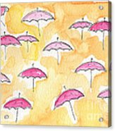 Pink Umbrellas Acrylic Print by Linda Woods