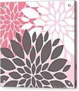 Pink White Grey Peony Flowers Acrylic Print