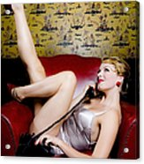 Pinup Girl With Phone Acrylic Print