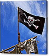 Pirate Flag On Ships Mast Acrylic Print by Garry Gay