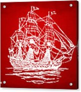 Pirate Ship Artwork - Red Acrylic Print by Nikki Marie Smith