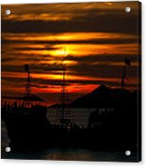 Pirate Ship At Sunset Acrylic Print by Robert Bascelli