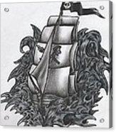 Pirate Ship Bw Acrylic Print