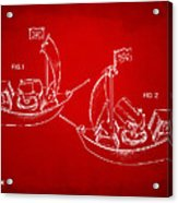Pirate Ship Patent Artwork - Red Acrylic Print by Nikki Marie Smith