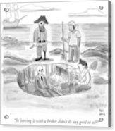 Pirates Stand Around A Dug Up Treasure Chest Acrylic Print