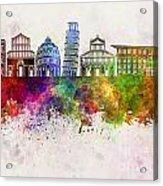 Pisa Skyline In Watercolor Background Acrylic Print