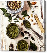 Pistachio Pesto With Mortar, Jars And Acrylic Print