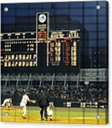 Pitching To A Hitter In Old Yankee Stadium Acrylic Print by Retro Images Archive