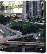 Pittsburgh Aerial Car Trails At Dusk 2 Acrylic Print