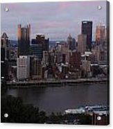 Pittsburgh Aerial Skyline At Sunset 3 Acrylic Print