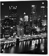 Pittsburgh Black And White Night Acrylic Print