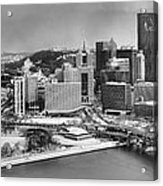Pittsburgh Black And White Winter Panorama Acrylic Print