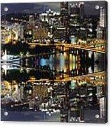 Pittsburgh Dusk Reflection 2 Acrylic Print