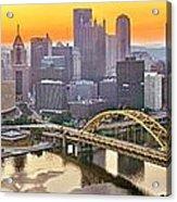 Pittsburgh Incline Sunrise Panorama Acrylic Print