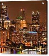 Pittsburgh Lights Under Cloudy Skies Acrylic Print