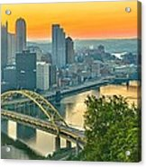 Pittsburgh Orange Skyline Acrylic Print
