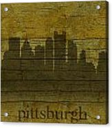 Pittsburgh Pennsylvania City Skyline Silhouette Distressed On Worn Peeling Wood Acrylic Print