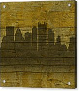 Pittsburgh Pennsylvania City Skyline Silhouette Distressed On Worn Peeling Wood No Name Version Acrylic Print