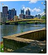 Pittsburgh Pennsylvania Skyline And Bridges As Seen From The North Shore Acrylic Print