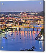 Pittsburgh Pennsylvania Skyline At Dusk Sunset Extra Wide Panorama Acrylic Print