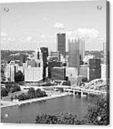 Pittsburgh Skyline From Mount Washington Black And White Acrylic Print