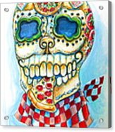 Pizza Sugar Skull Acrylic Print